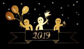 La gente del oro sostiene una cinta con 2019 números, globos del control, bandera, Stock de ilustración