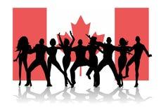 La gente del partito della bandierina di giorno del Canada Fotografia Stock