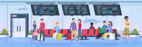 La gente del terminale di aeroporto Viaggiatori che si siedono attesa con i passeggeri del fumetto dei bagagli sulla vacanza Illu illustrazione vettoriale
