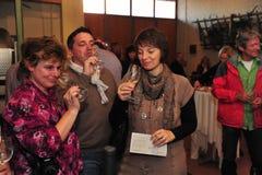 La gente dell'assaggio di vino Immagini Stock Libere da Diritti