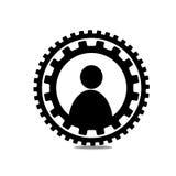 La gente dell'icona in un cerchio degli ingranaggi Fotografie Stock Libere da Diritti