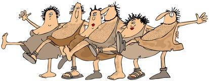 La gente della caverna che balla nell'unisono Immagine Stock