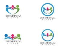 La gente della Comunità si preoccupa le icone del modello di logo di vita di salute e di successo Immagini Stock