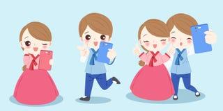 La gente della Corea del fumetto illustrazione vettoriale