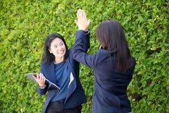 La gente della donna due di affari alta fiving all'aperto il fondo della natura Fotografia Stock