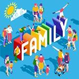 La gente della famiglia dell'arcobaleno isometrica Immagini Stock Libere da Diritti