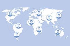 La gente della mappa di mondo del fondo al collegamento della gente Fotografie Stock