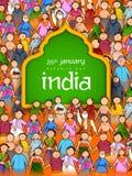La gente della religione differente che mostra unità nella diversità il giorno felice della Repubblica dell'India illustrazione vettoriale