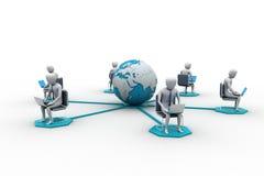 La gente della rete con il globo Royalty Illustrazione gratis