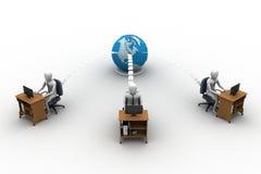 La gente della rete con il globo Illustrazione di Stock