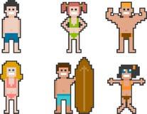 la gente della spiaggia di Pixel-arte ha messo 1 royalty illustrazione gratis