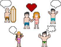 La gente della spiaggia di Pixelart ha messo 3 illustrazione di stock