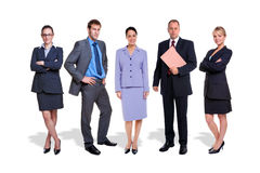 La gente della squadra cinque di affari isolata Fotografia Stock Libera da Diritti