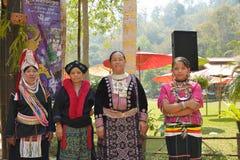 La gente della tribù di Akha in vestiti tradizionali Fotografia Stock Libera da Diritti