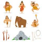 La gente della tribù di età della pietra ed oggetti relativi Fotografia Stock Libera da Diritti