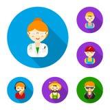 La gente delle icone piane di professioni differenti nella raccolta dell'insieme per progettazione Web delle azione di simbolo di Fotografia Stock Libera da Diritti