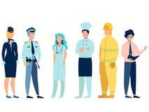 La gente delle professioni differenti Medico, vigile del fuoco, insegnante, hostess, cuoco e poliziotto in uniforme In minimalist illustrazione vettoriale