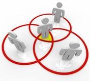 La gente dello schema di Venn nei cerchi di sovrapposizione Fotografia Stock Libera da Diritti