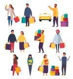 La gente di acquisto con le borse Illustrazione di vendita di vettore fotografia stock libera da diritti