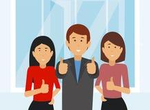La gente di affari allegra team dando i pollici su in ufficio illustrazione vettoriale