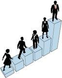 La gente di affari arrampica il basamento sul diagramma Fotografie Stock Libere da Diritti