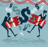 La gente di affari astratta ottiene un'indennità di Natale di sorpresa Immagini Stock Libere da Diritti