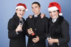 La gente di affari celebra il natale Fotografie Stock