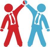 La gente di affari celebra il successo di accordo di affare Fotografia Stock Libera da Diritti
