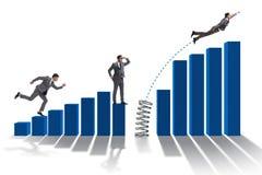 La gente di affari che salta sopra gli istogrammi Fotografie Stock