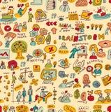 La gente di affari creativa colora gli oggetti ed il modello senza cuciture delle icone Immagini Stock
