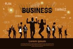 La gente di affari della siluetta del gruppo eccitata si tiene per mano sui braccia alzati, successo del vincitore di concetto de illustrazione vettoriale