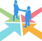 La gente di affari delle frecce incontra l'accordo di affare Fotografia Stock Libera da Diritti