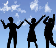 La gente di affari delle siluette celebra una vittoria Fotografie Stock