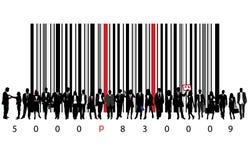la gente di affari e codice a barre Fotografie Stock