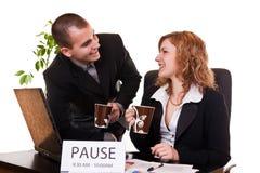 La gente di affari godere caffè-si rompe Fotografie Stock Libere da Diritti