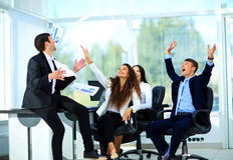 La gente di affari ha eccitato il sorriso felice Fotografia Stock Libera da Diritti