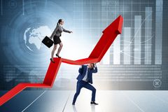 La gente di affari nel concetto di affari di miglioramento della situazione economica fotografie stock