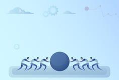 La gente di affari raggruppa il concetto della cooperazione di due Team Pushing Stone Together Teamwork royalty illustrazione gratis