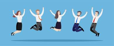 La gente di affari salta insieme Illustrazione di un gruppo dei lavoratori felici su un fondo blu illustrazione vettoriale