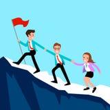La gente di affari scala la montagna Immagini Stock