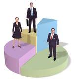La gente di affari si leva in piedi sul grafico a settori di successo Fotografia Stock