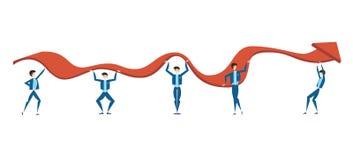 La gente di affari sta provando a sollevare il grafico della crescita di reddito della società Il concetto di lavoro di squadra V royalty illustrazione gratis