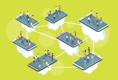 La gente di affari sta sulla grande donna 3d dell'uomo di comunicazione della rete sociale dello Smart Phone delle cellule isomet Illustrazione Vettoriale