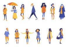 La gente di autunno insieme illustrazione di stock