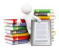 la gente di bianco 3d Concetto del lettore del libro elettronico Fotografie Stock