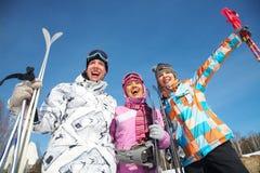 La gente di corsa con gli sci Immagine Stock