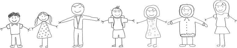 La gente di diversità culturale che si tiene per mano scarabocchio Ske illustrazione di stock