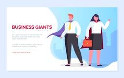 La gente di Giants di affari equipaggiano e la pagina del sito Web della donna illustrazione vettoriale