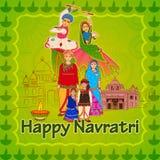 La gente di Gujrati che desidera festival di Navratri Dussehra illustrazione di stock