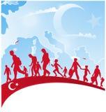 La gente di immigrazione sulla bandiera del tacchino royalty illustrazione gratis